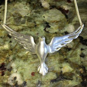 Fossil dove bird necklace